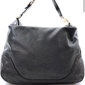 Gucci Black Leather Guccissima Fold over Hobo Bag